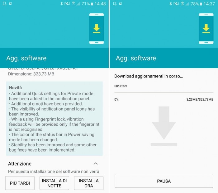 Android 6.0.1 per Samsung Galaxy S6 e S6 Edge