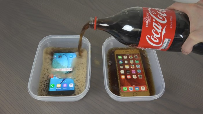 Samsung Galaxy S7 e iPhone 6S Plus vs Coca Cola