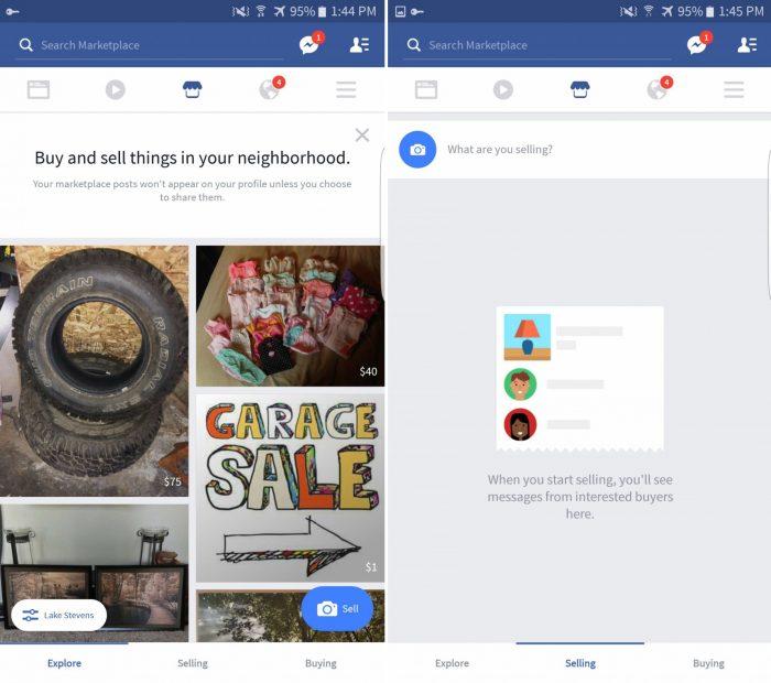 Facebook testa il proprio marketplace