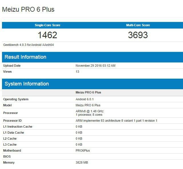 Meizu Pro 6 Plus compare su GeekBench, informazioni generali sul prodotto