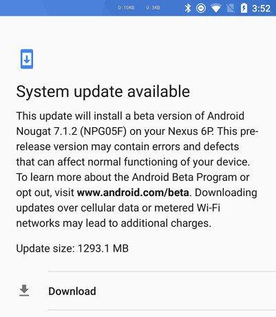 Android N 7.1.2 arriva anche su Nexus 6P in versione beta