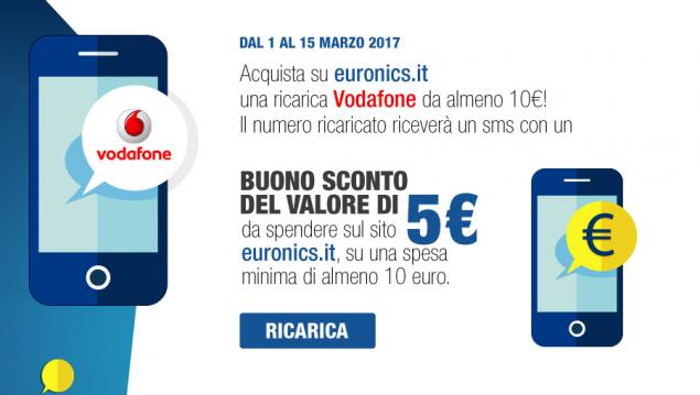 Promozioni Euronics, 5€ di sconto se ricaricate 10€ Vodafone
